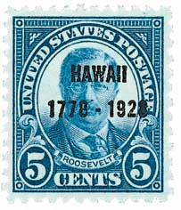 1928 5c Discovery of Hawaii, dark blue
