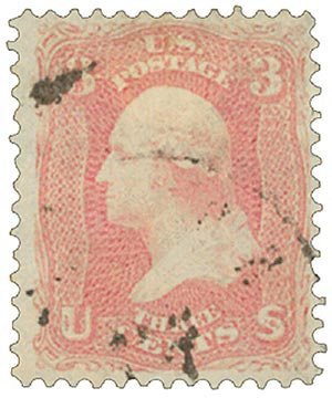 1861 3c Washington, rose pink