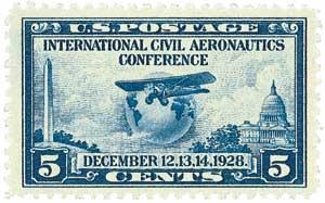 1928 5c Globe and Airplane, Prairie Dog Plate Flaw