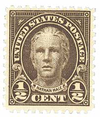 1929 1/2c Nathan Hale, olive brown