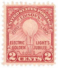 1929 2c Edisons First Lamp, rotary