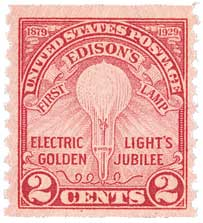 1929 2c Edisons First Lamp, coil perf 10