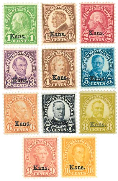 1929 Kansas Overprint, collection of 11 stamps