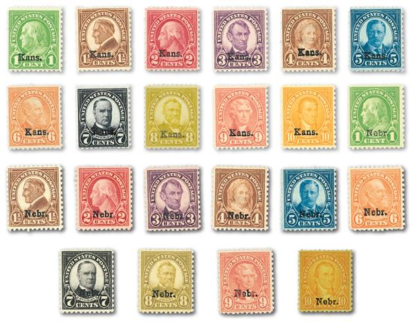 Complete Set, 1929 Kansas and Nebraska Overprints