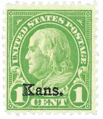 1929 1c Franklin, green, Kansas-Nebraska overprints