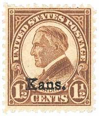 1929 1 1/2c Harding, brown, Kansas-Nebraska overprints