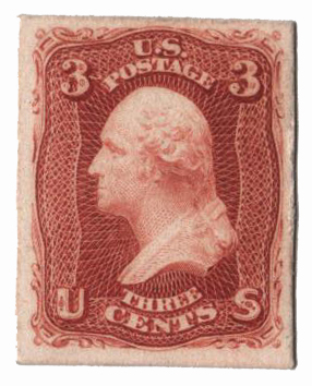 1861 3c rose, plate on card