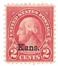 1929 2c Washington, carmine, Kansas-Nebraska overprints