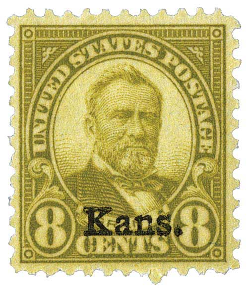 1929 8c Grant, olive green, Kansas-Nebraska overprints