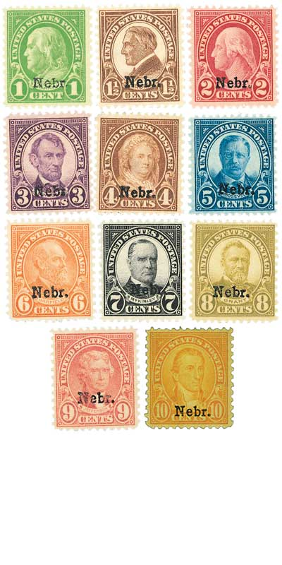 1929 Nebraska Overprint, collection of 11stamps