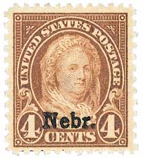 1929 4c Martha Washington, yellow brown, Kansas-Nebraska overprints