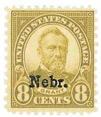 1929 8c Grant, olive green, Kansas-Nebraska overprints