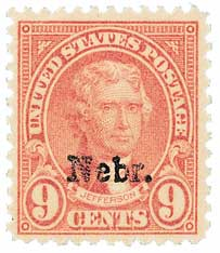 1929 Jefferson 9c light rose