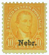 1929 10c Monroe, orange yellow, Kansas-Nebraska overprints