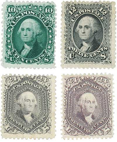 1861-62 Washington Stamps 4v Used