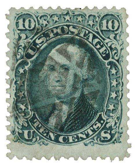 1861-62 10c Washington, dark green