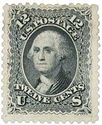 1861 12c Washington, black