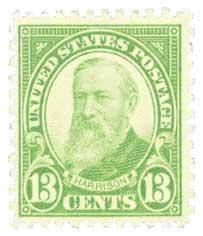 1931 13c Harrison, yellow green