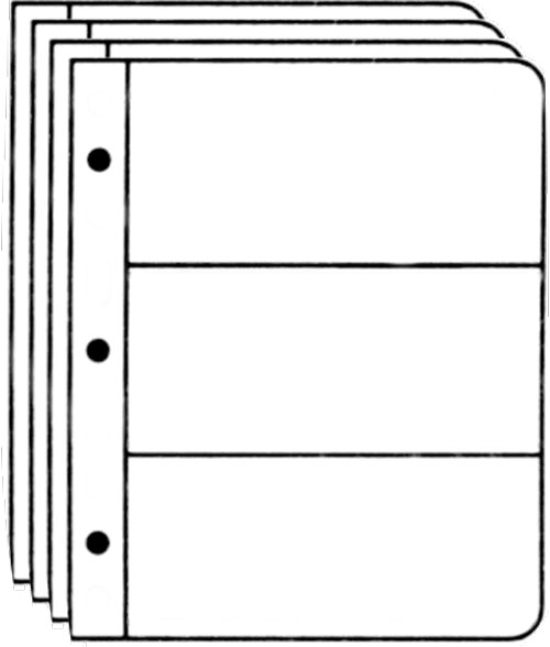 Lucidview III 3-Pocket First Day Cover Pages, Clear, Set of 25