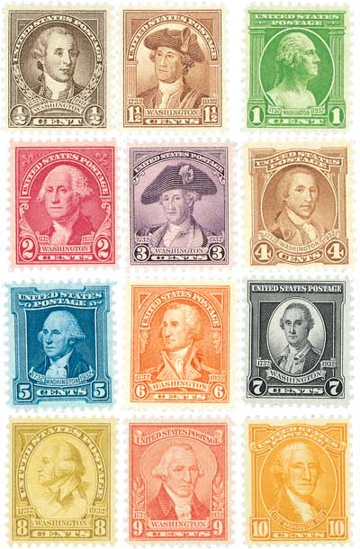 1932 Washington Bicentennials, set of 12 stamps
