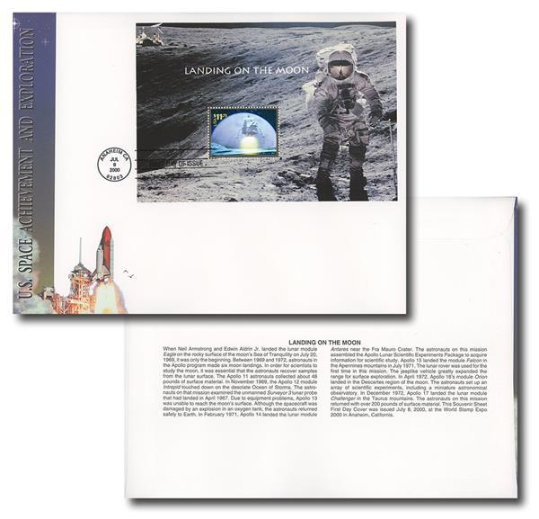 2000 $11.75 Lunar Landing Souvenir Sheet FDC