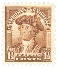 1932 Washington Bicentennial: 1 1/2c Washington by Charles Willson Peale