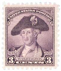 1932 Washington Bicentennial: 3c Washington by Charles Willson Peale