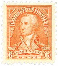 1932 Washington Bicentennial: 6c Washington by John Trumbull
