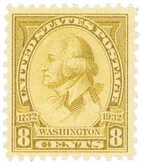 1932 Washington Bicentennial: 8c Washington by Charles B.J. Saint Memin