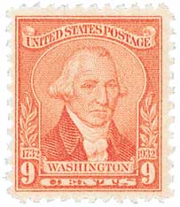 1932 Washington Bicentennial: 9c Washington by William Joseph Williams