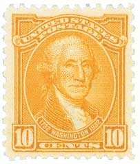 1932 Washington Bicentennial: 10c Washington by Gilbert Stuart