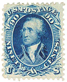 U.S. #72 was often used on mail to China and France during the Civil War.