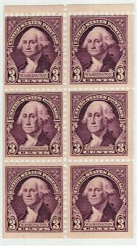 1932 3c deep violet, bklt pane of 6
