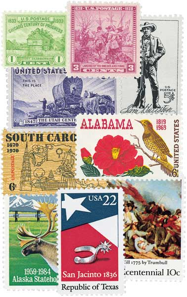 US Stamps Representing the 50 States, collection of 50