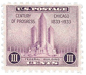 1933 3c Federal Building at Chicago