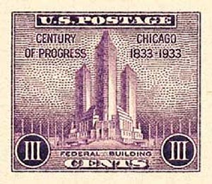 1933 3c Federal Building imperf single