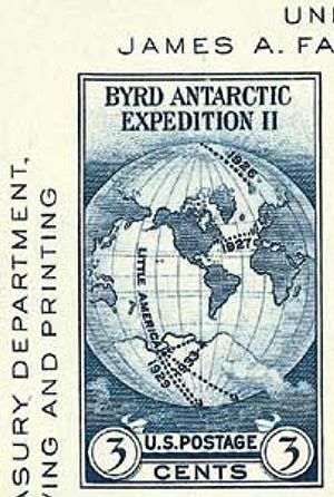 1934 3c Byrd Antarctic Expedition, imperf single