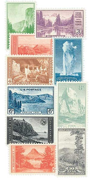 Complete Set, 1934 National Parks Issue, 10v
