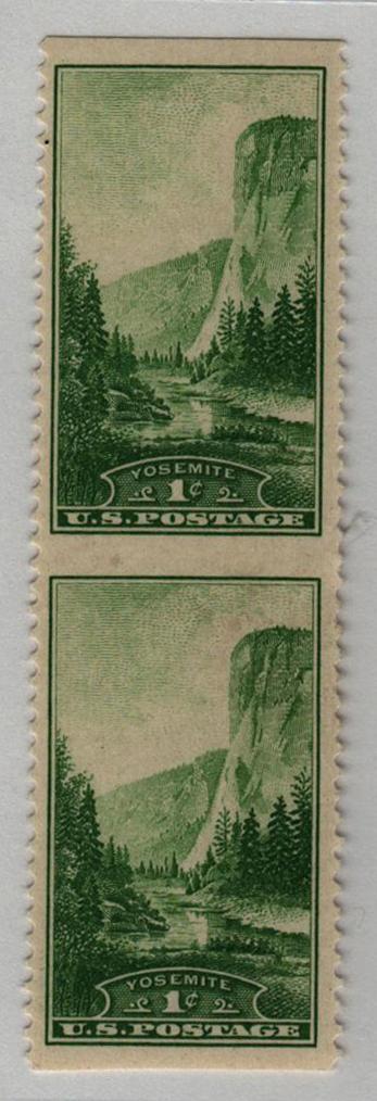1934 1c green, Vert. pair, imperf. horiz
