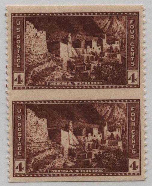 1934 4c brown, Vert. pair, imperf. horiz