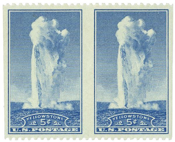 1934 5c blue, Horiz. pair, imperf vert.,