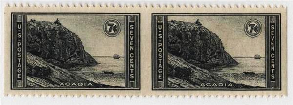 1934 7c Acadia, Maine horiz. pair