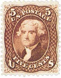 1861-66 5c Jefferson, red brown