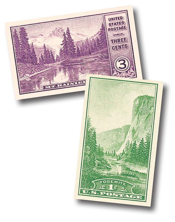 1934 3c Mt. Rainer and 1c Yosemite, imperf singles
