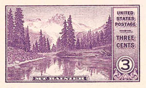 1934 3c Mt Rainier, imperf single