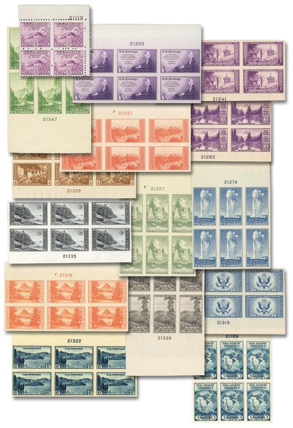 1935 Farleys Follies, collection of 15 plate blocks