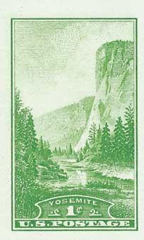 1935 1c National Parks: Yosemite, imperf, no gum