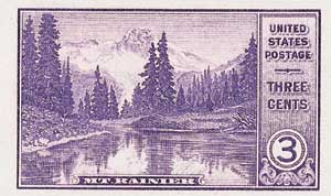 1935 3c National Parks: Mt. Rainier, imperf, no gum