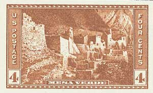 1935 4c National Parks: Mesa Verde, imperf, no gum