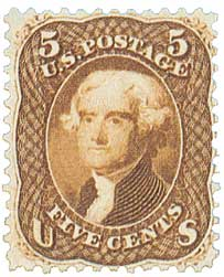 1863 5c Jefferson, Brown